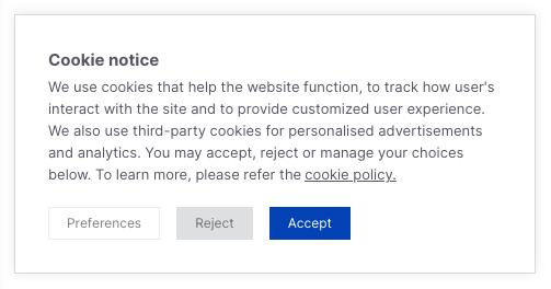 A CCPA compliant cookie notice.