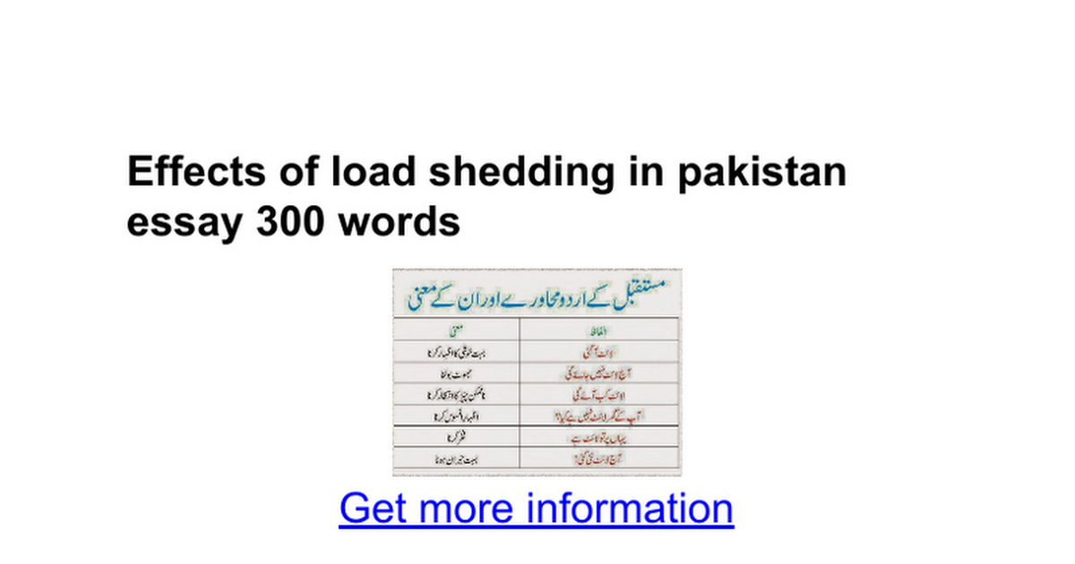 effects of load shedding in essay words google docs