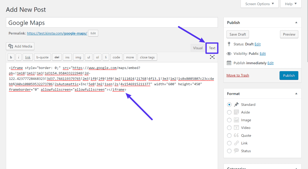 How to add the embed code in WordPress Classic editor