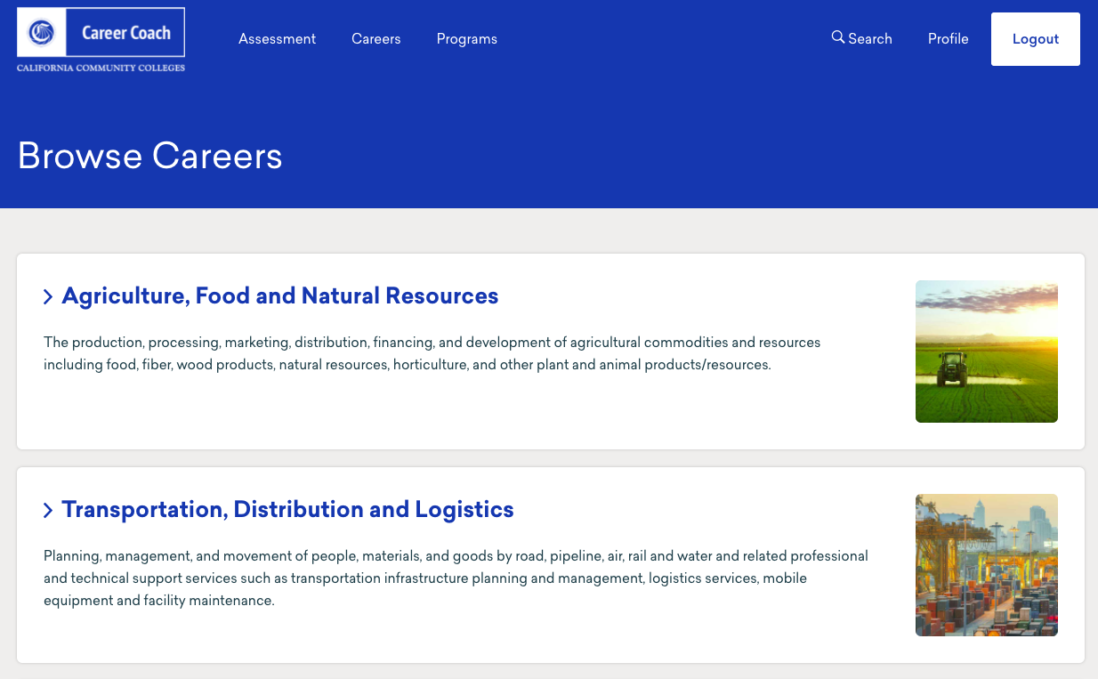 Browse Careers Example within MyPath