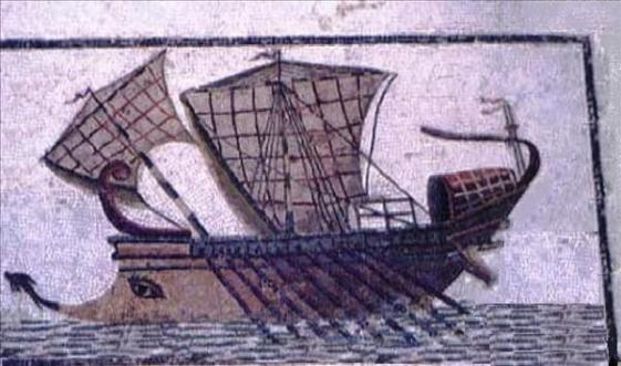 C:\Users\NF\Desktop\ANCIENT SHIPS, Roman, Battle of Actium, mosaic, Sousse Museum, Tunisia.jpg