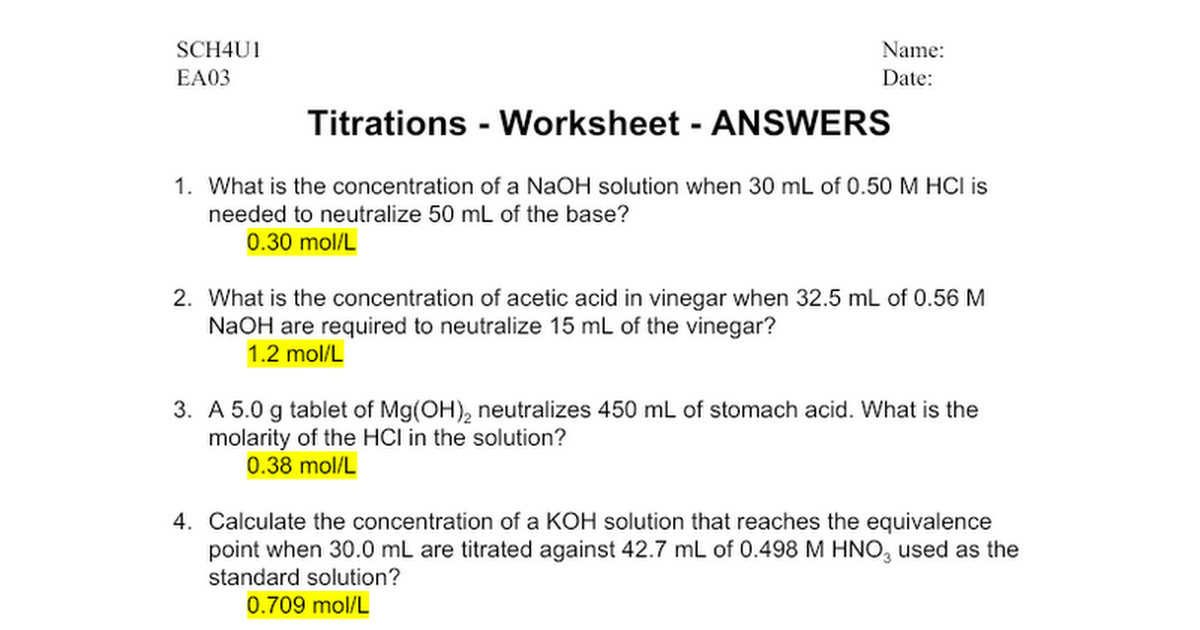 EA07 Titrations Worksheet ANSWERS Google Docs – Titrations Worksheet