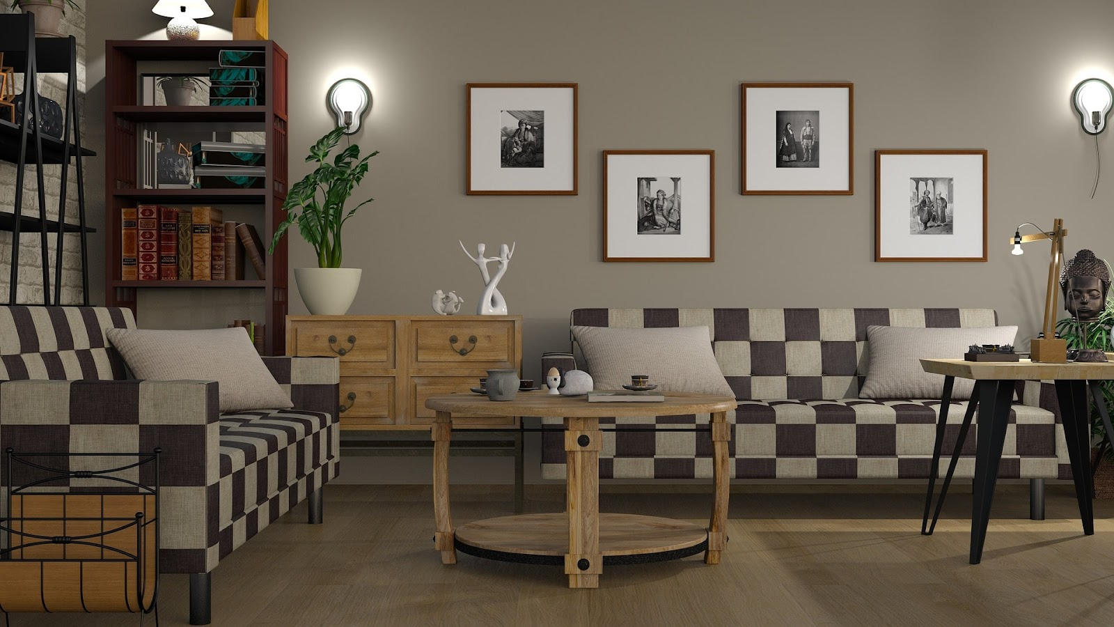 A compact living space with simple wall decor representing a perfect space for you to relax in.