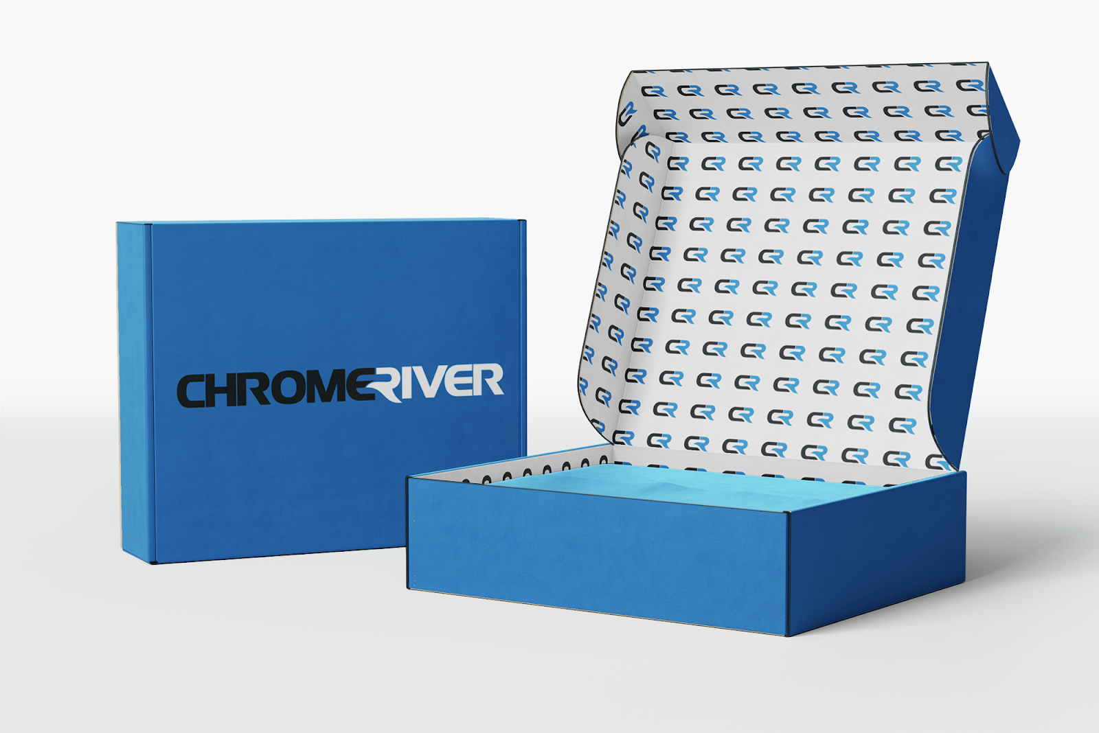 chrome river's custom branded box idea leveraging their logo