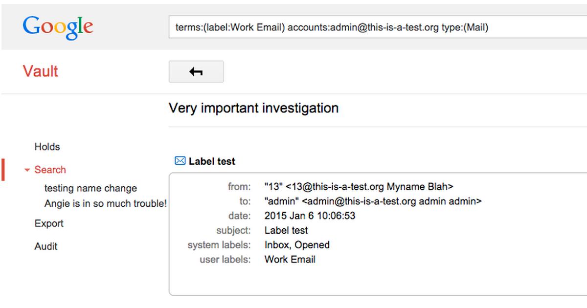G Suite Updates Blog: Gmail labels in Google Vault email ...