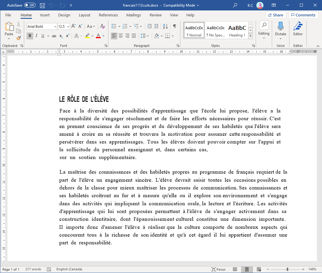 Scanned PDF to Word resulting document with French-specific characters extracted