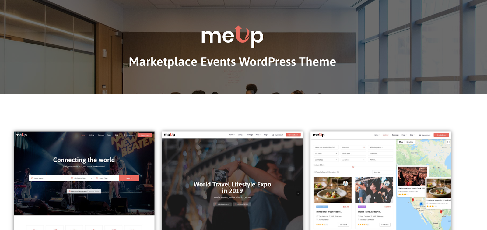 Meup WordPress Marketplace theme homepage featuring the tagline, computer screen, and example of the the theme layout