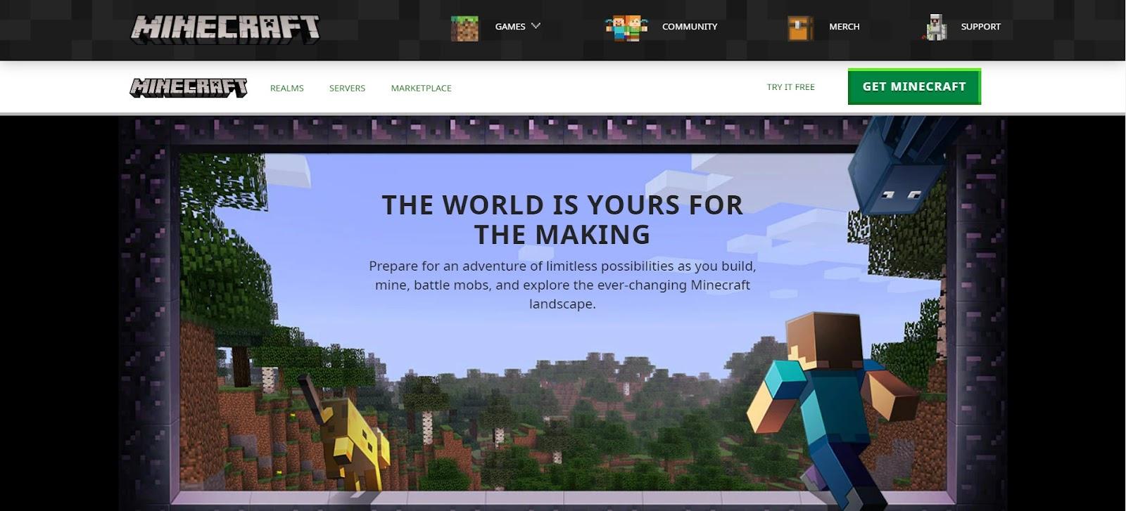 Minecraft website home page