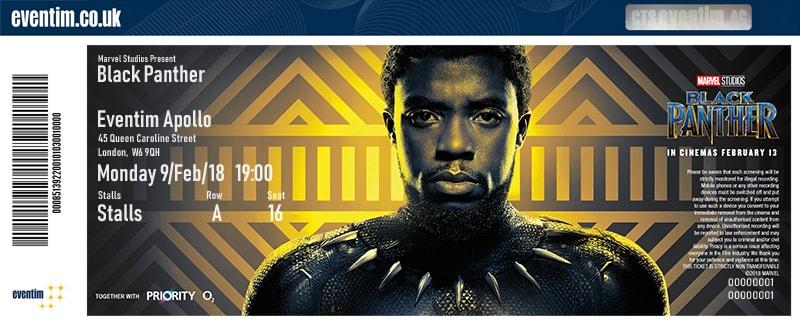 White label billett for black panther film, online billettløsning med white label billetter, custom billetter