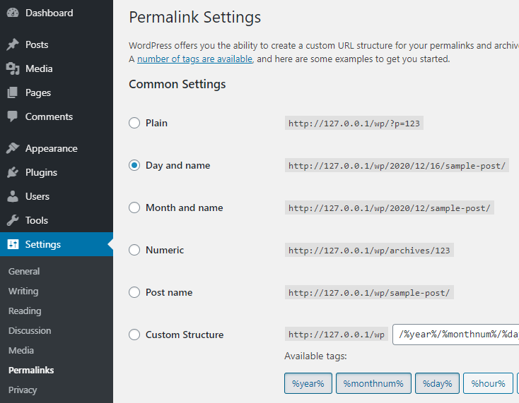 Permalink setting WordPress
