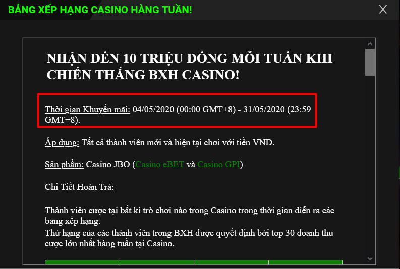 Thời gian diễn ra chương trình khuyến mãi chơi Casino tại JBO