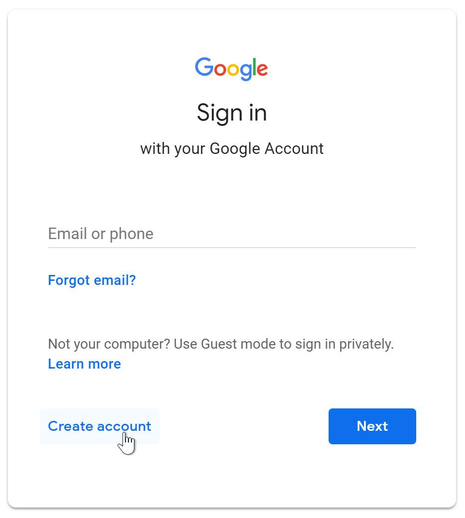 Clicking create an account link