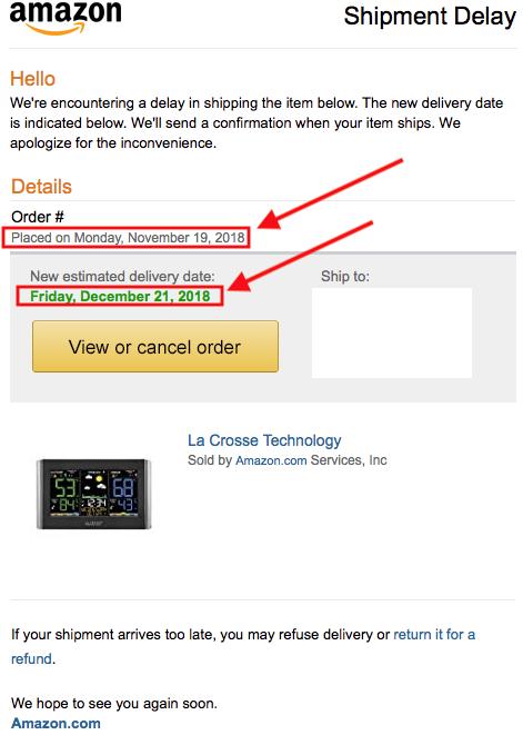 Amazon shipment delay emails