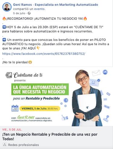 Eventos de Facebook Página de Facebook