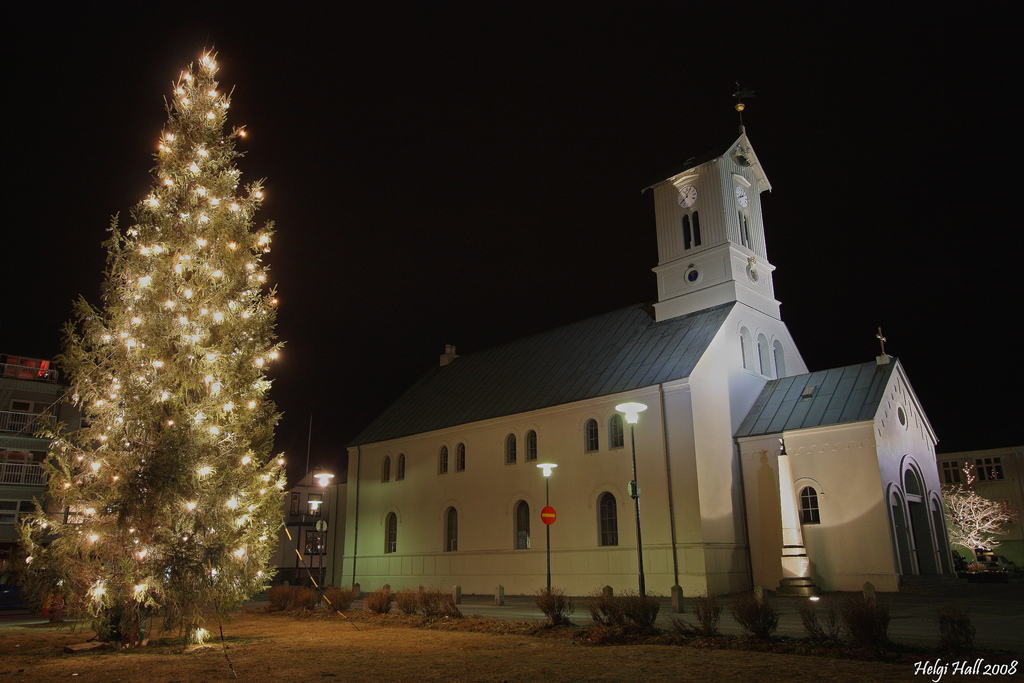 Domkirkjan Church in Reykjavik and a decorated christmas tree in the evening.