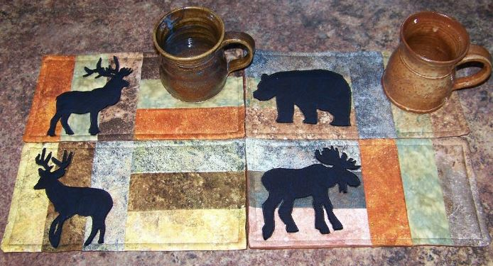 Quilted Mug Rugs Featuring Moose - Pattern on Bluprint.com