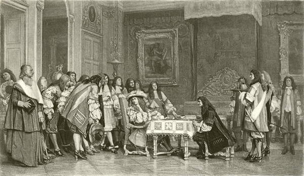 Image of Moliere at breakfast with Louis XIV. Illustration from Great Men and Famous Women edited by Charles Horne (Selmar Hess, c 1900). Digitally cleaned image, © Look and Learn / Bridgeman Images