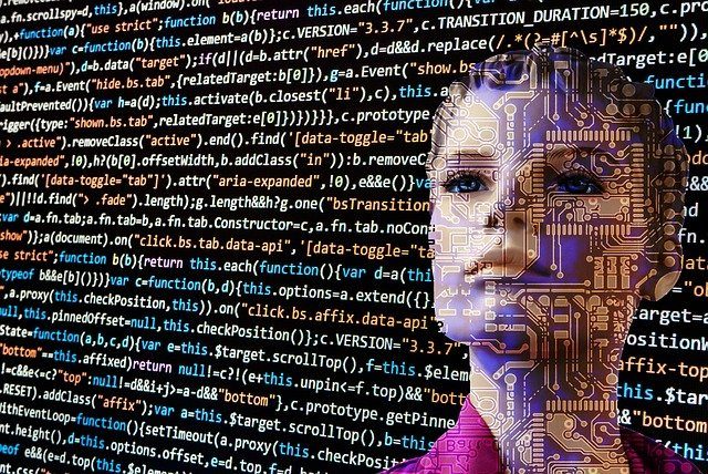 A face of a female robot with coding as its background Types of Coding Languages