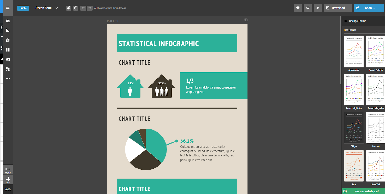 dark gray interface with a green, tan, black and white infographic work in progress