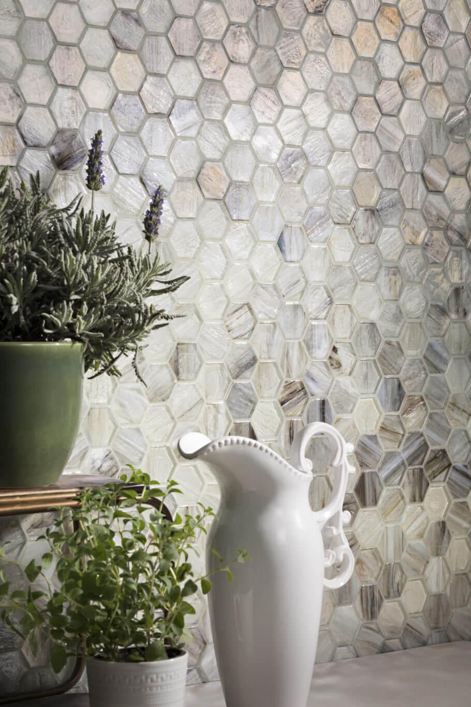 Textured hexagon tile mosaic