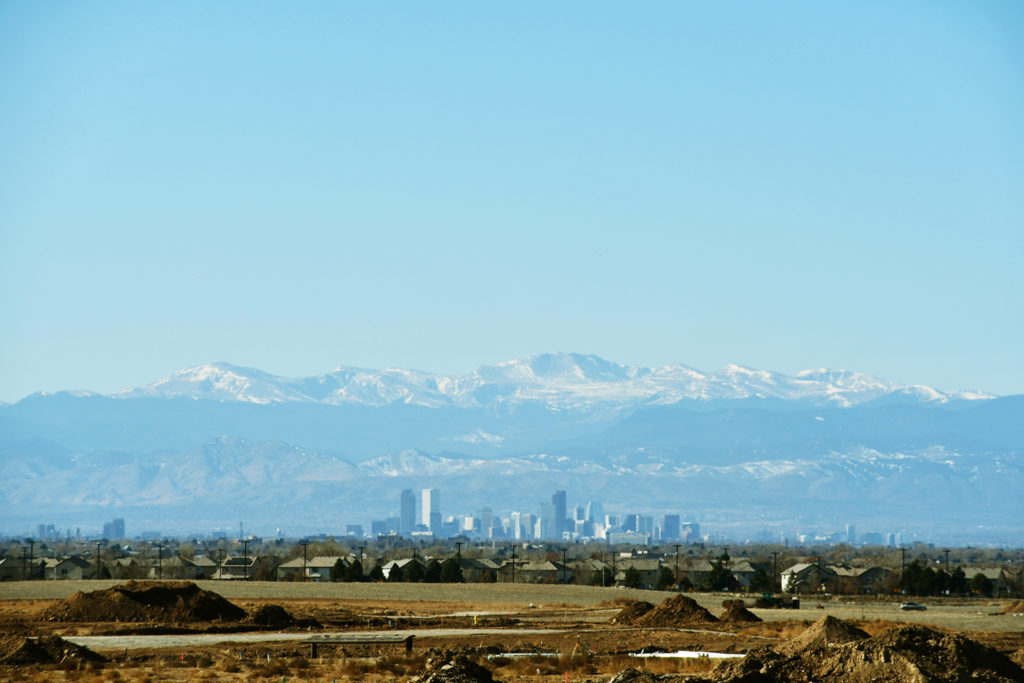 Views of Downtown Denver from Painted Prairie.