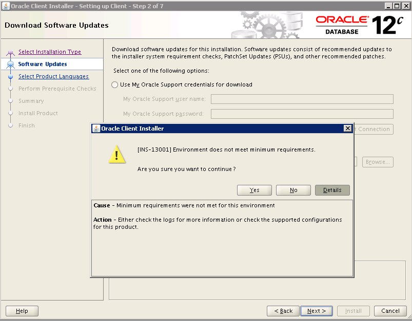 fast dba  oracle 12c installation fails with  ins