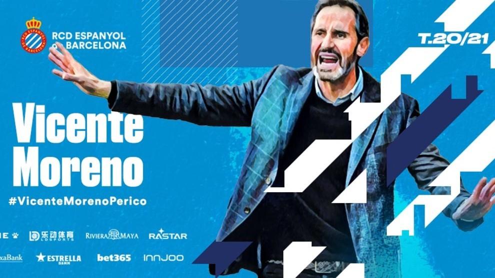 Anuncio oficial del fichaje de Vicente Moreno por el Espanyol. Fuente: RCDE