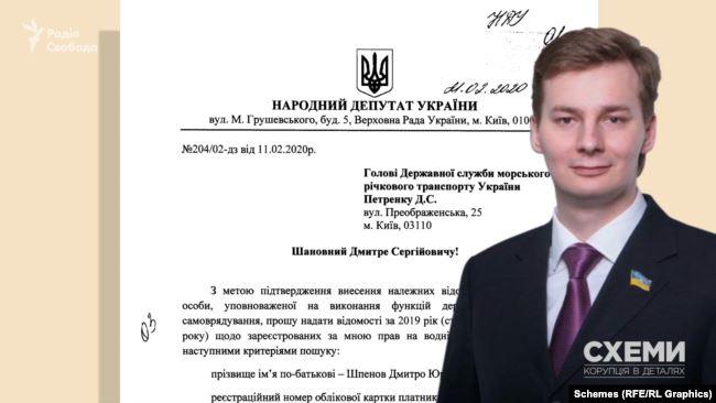 У своїх депутатських зверненнях депутат Шпенов запитував деталі інформації щодо свого водного транспортного засобу