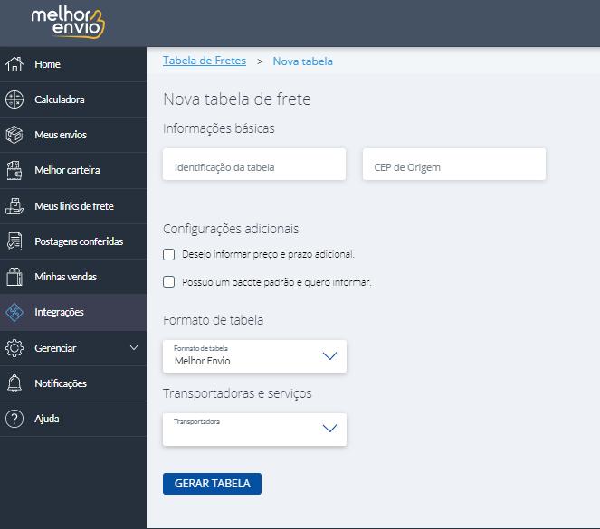 tela de configurações da tabela de frete do Melhor Envio