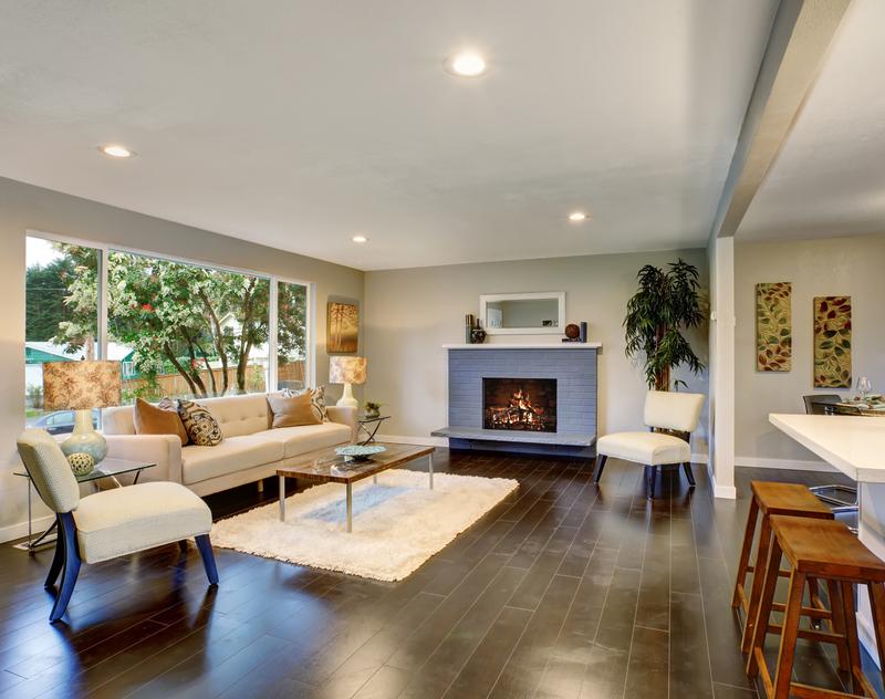 clean wood floors in a living room