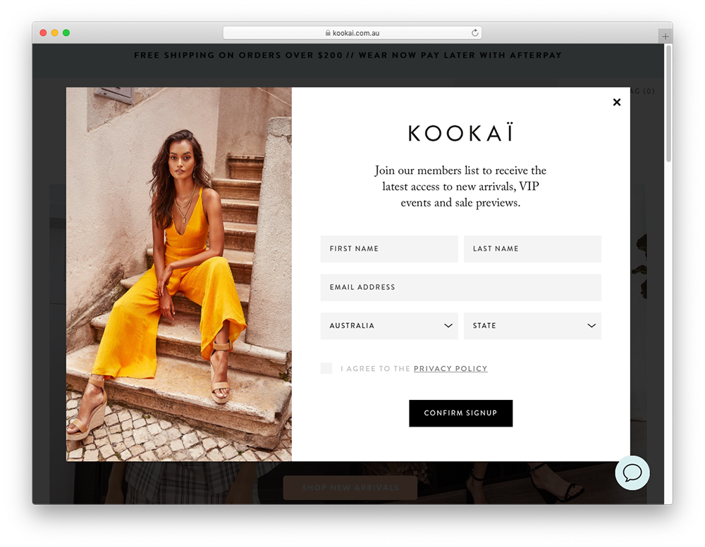 Kookai newsletter signup form.
