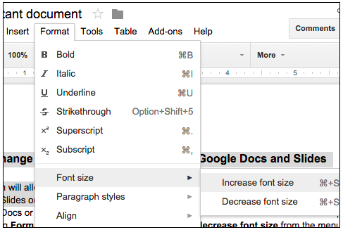 G Suite Updates Blog: Easily change the relative font size of text