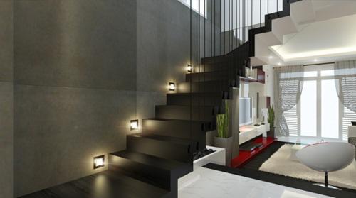 Sử dụng bóng đèn downlight âm trần Led Philips âm vào các thiết kế tại cầu thang cho ngôi nhà