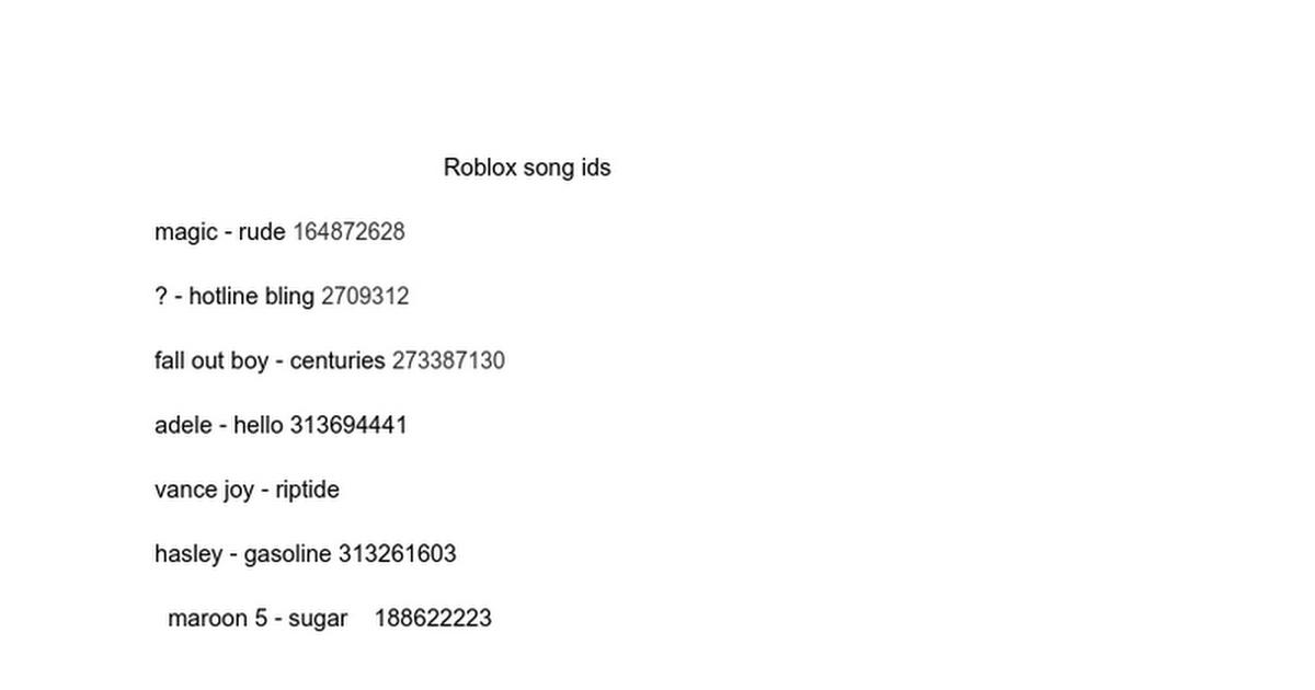 Roblox Songs Ids List 1574 Songs Google Docs Akrossinfo