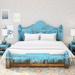 Teal Wooden Chic Bed Frame