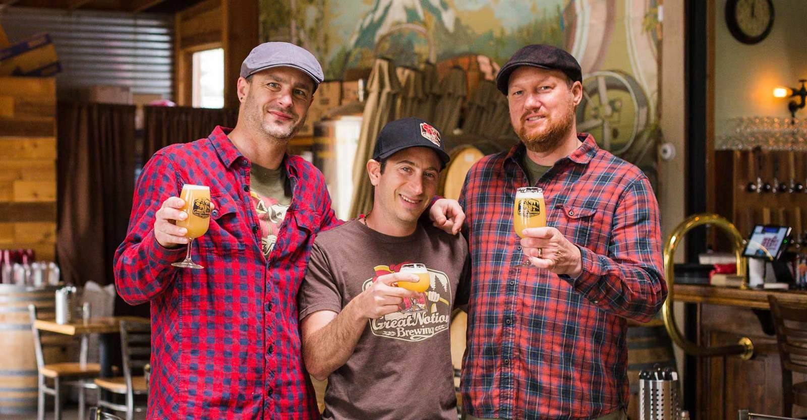 Founders of Great Notion Brewing, James Dugan, Paul Reiter, and Andy Miller