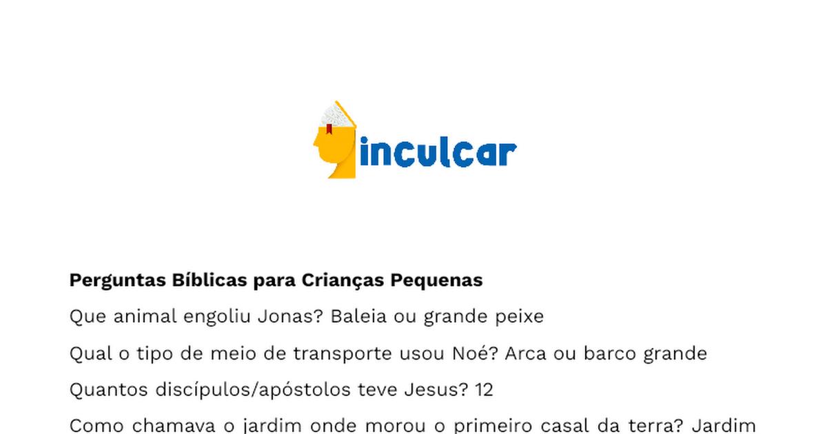 Top 30 Perguntas bíblicas simples para crianças - Documentos Google KE36