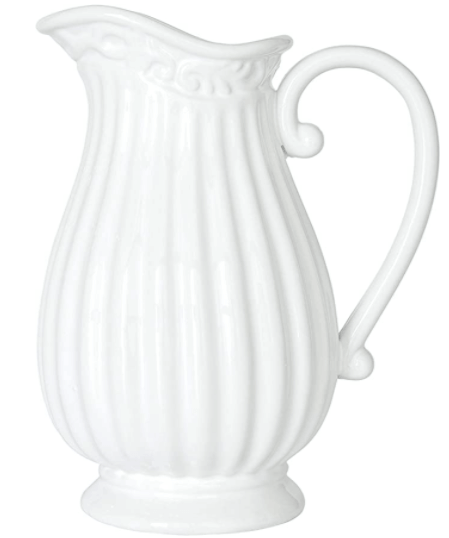spring decorations ideas white ceramic pitcher