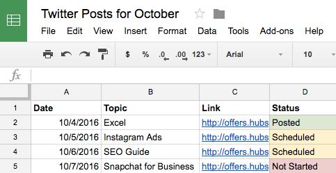 instagram content calendar google sheets