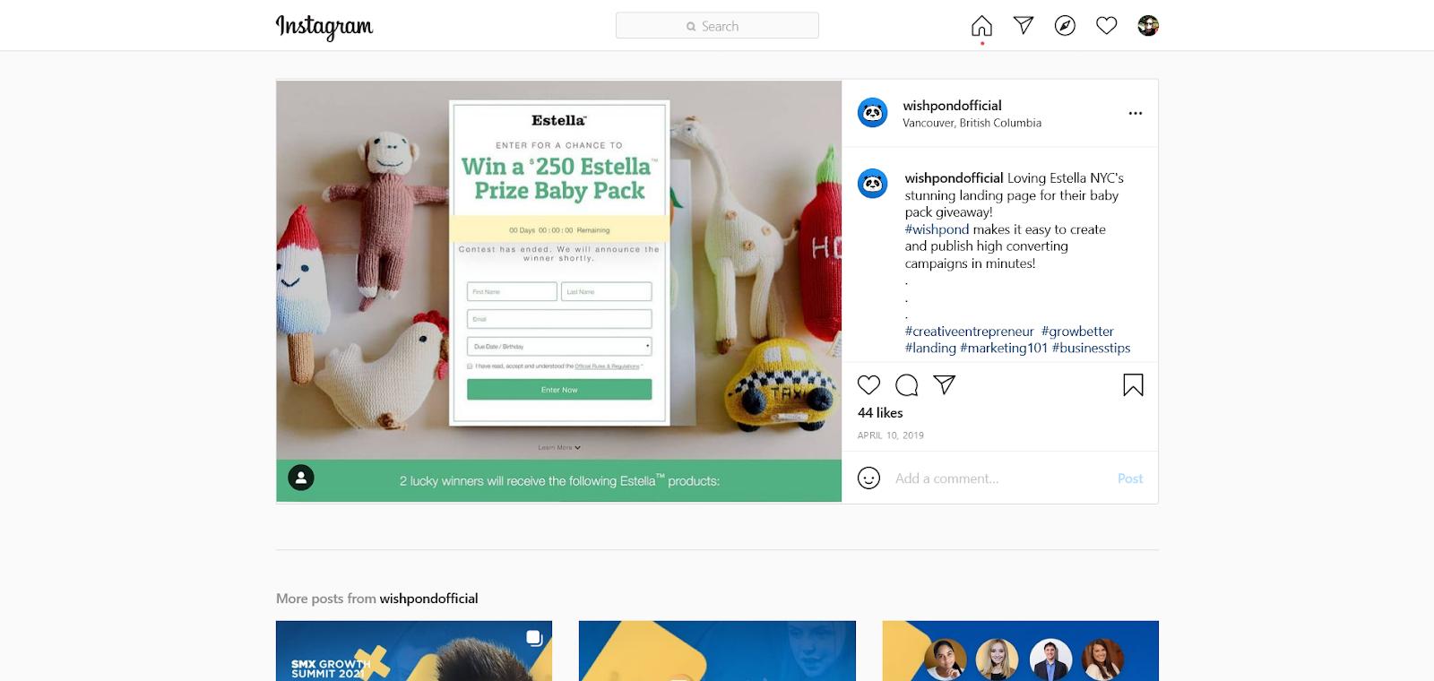wishpond instagram giveaway
