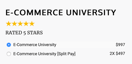 price for 1-time payment and multi-payments for justin woll ecommerce university dropshipping course