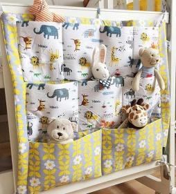 Muslin Tree Bed Hanging Storage Bag Baby Cot Cotton Crib Organizer 60*50cm Toy Diaper Pocket for Bedding Set Animal
