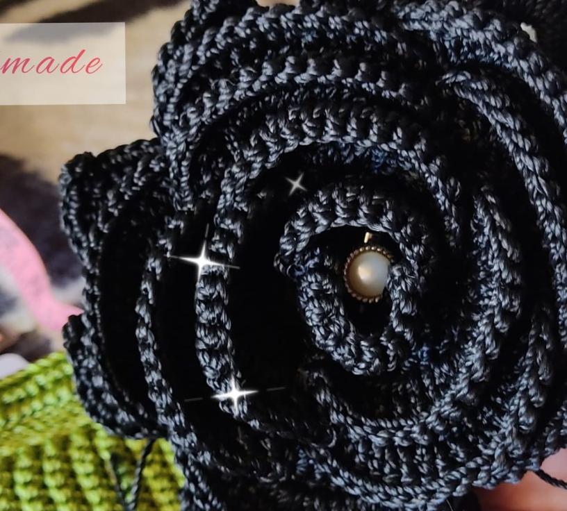 black yarn flower
