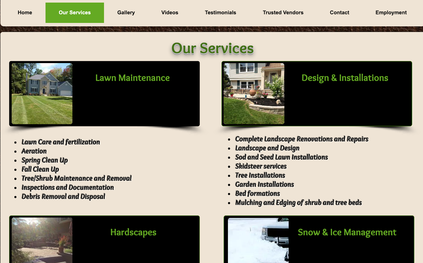 Website architecture screenshot from a lawn care company.