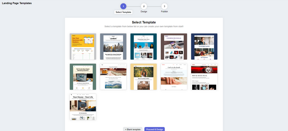 Select from a range of Deskera Landing page templates