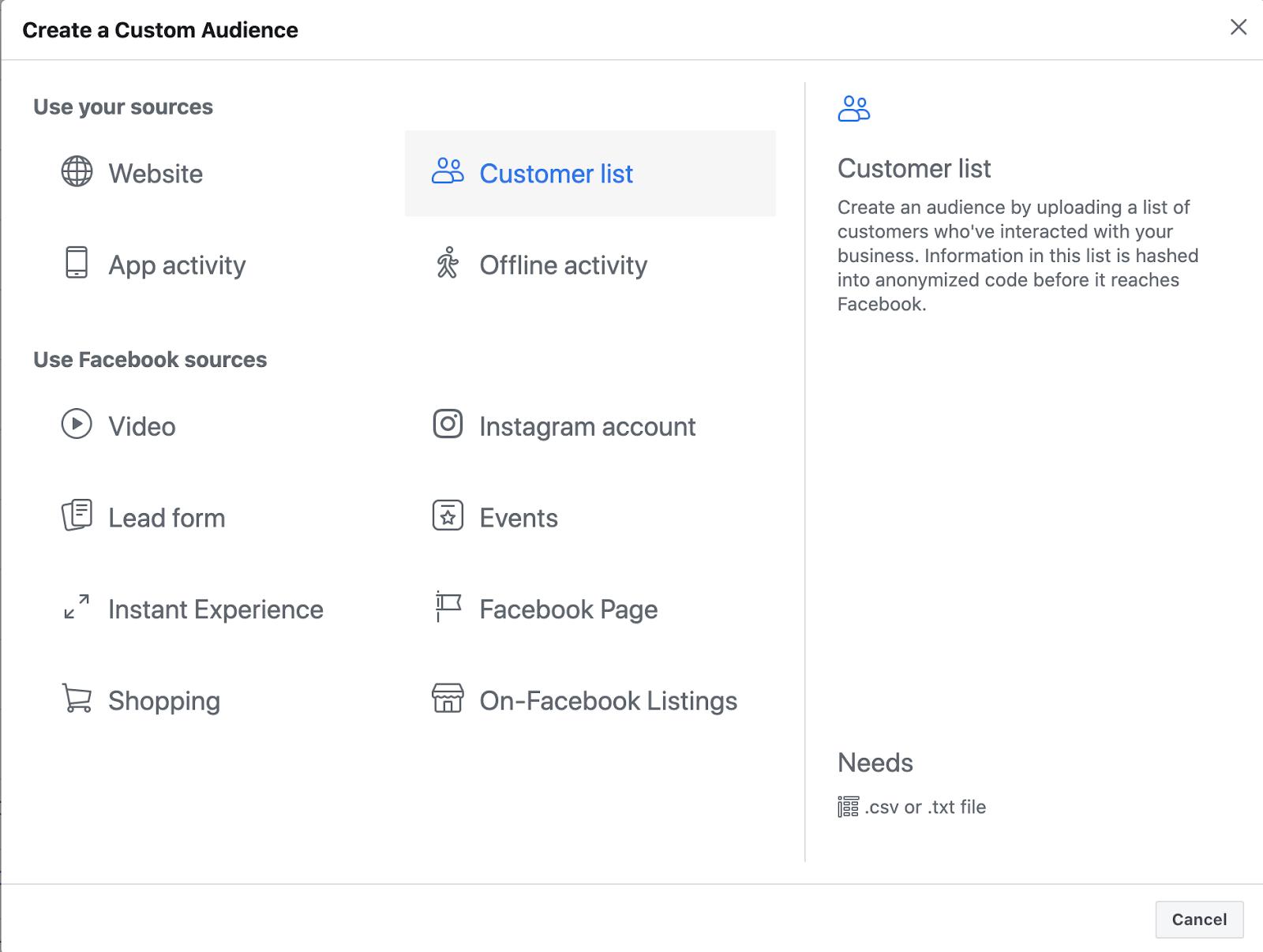 Facebook Lookalike Audience Custom Audience