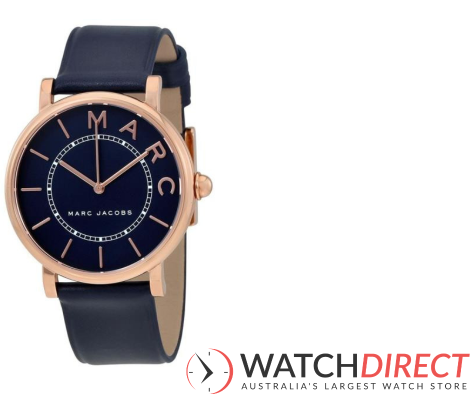 Marc Jacobs Roxy Navy Blue Dial Leather Women's Watch is a navy girl's dream.