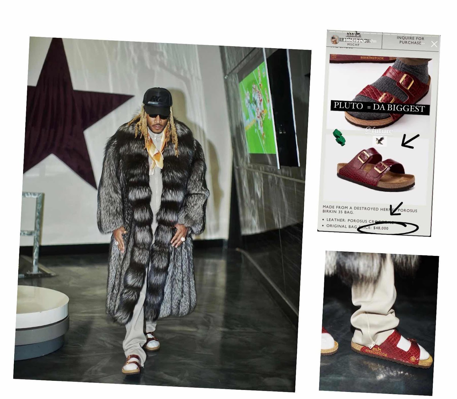 Future Wears $48,000 Crocodile Birkinstock MSCHF