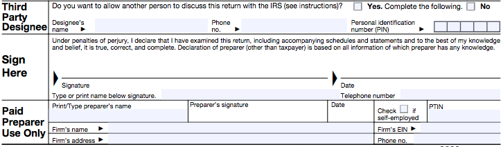 Screenshot of the last portion of form 2290. This picture shows where you can enter a third party designee, and your signature.