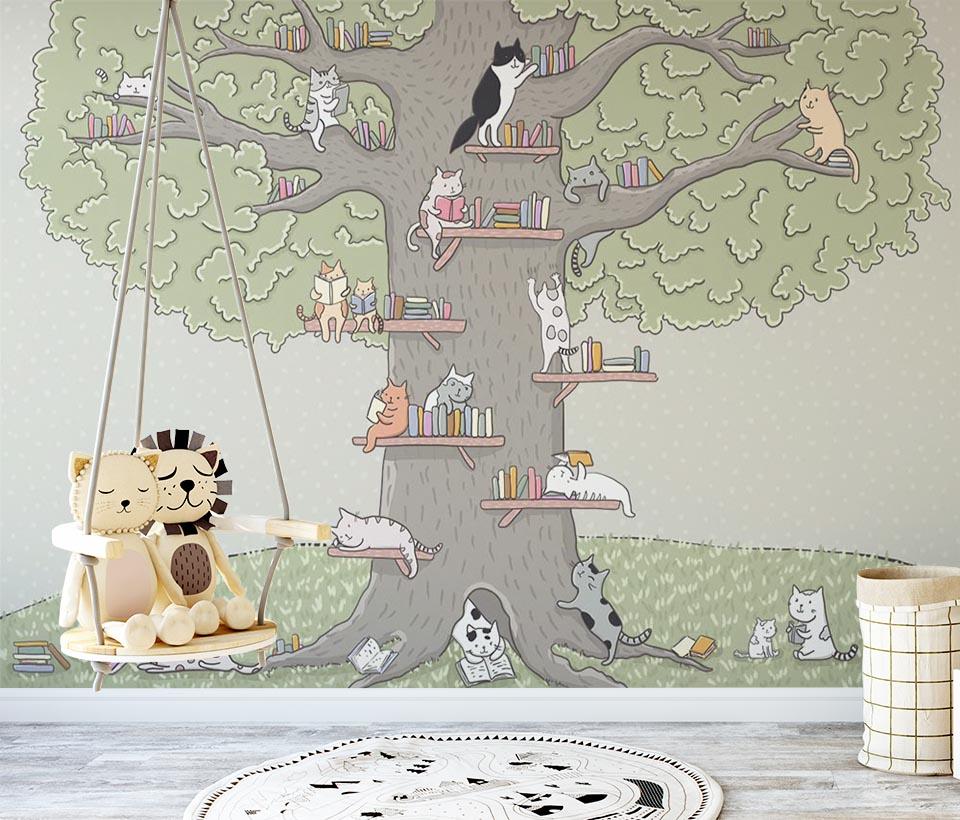 Фотообои с кошками на дереве в детской комнате